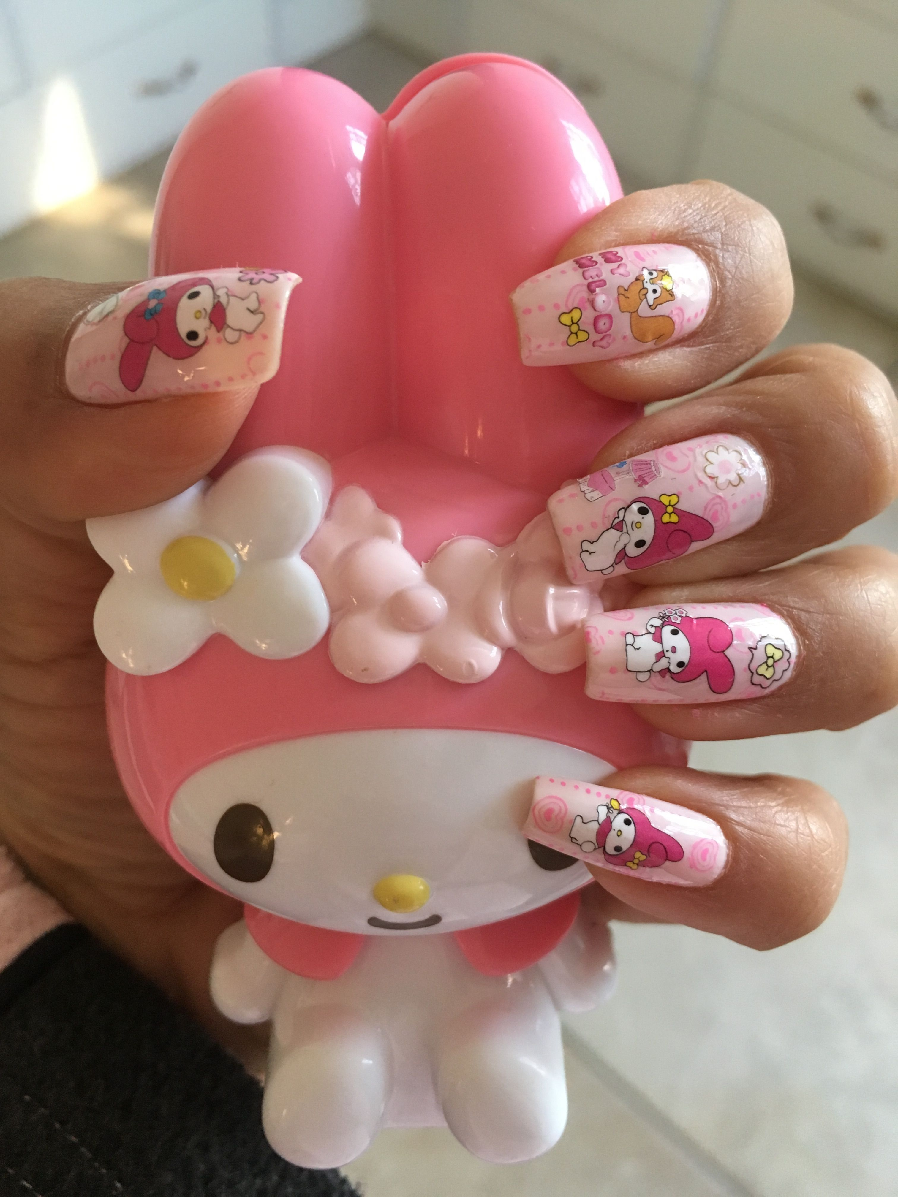 My Melody Nails Kawaii Nails Cute Nails Nail Colors Winter