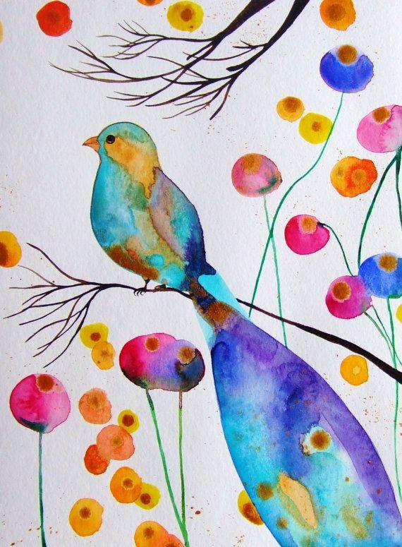 Assez Bird Watercolor Ink Bird Flowers Bird Decor Blue Purple Pink Gold  SN16