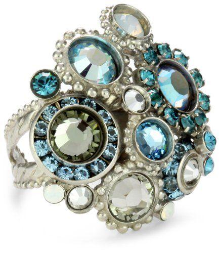 "Sorrelli ""Salt Water"" Intricate Crystal Adjustable Silver-To"