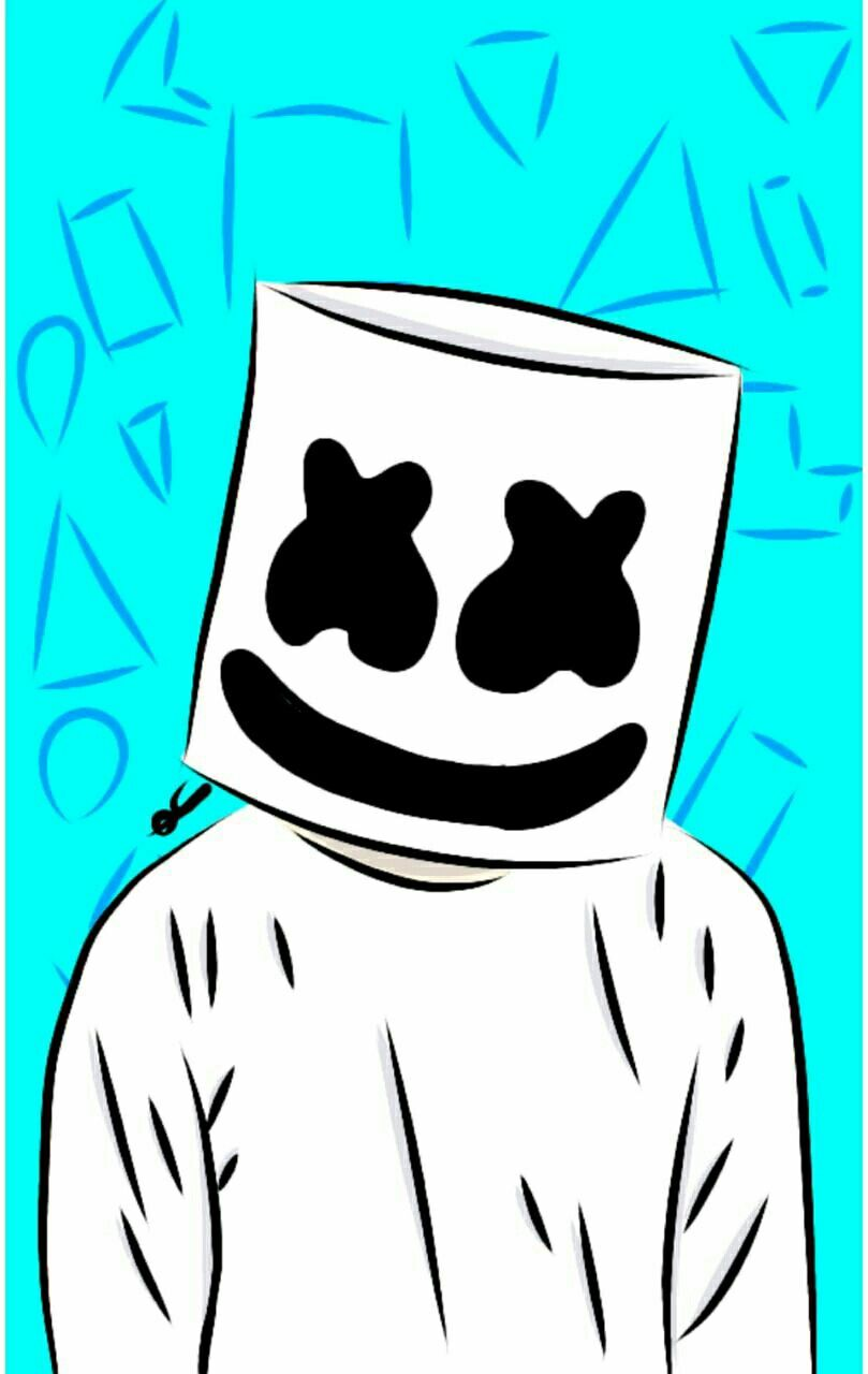 Marshmello Easy Drawings Neon Wallpaper Simple Doodles