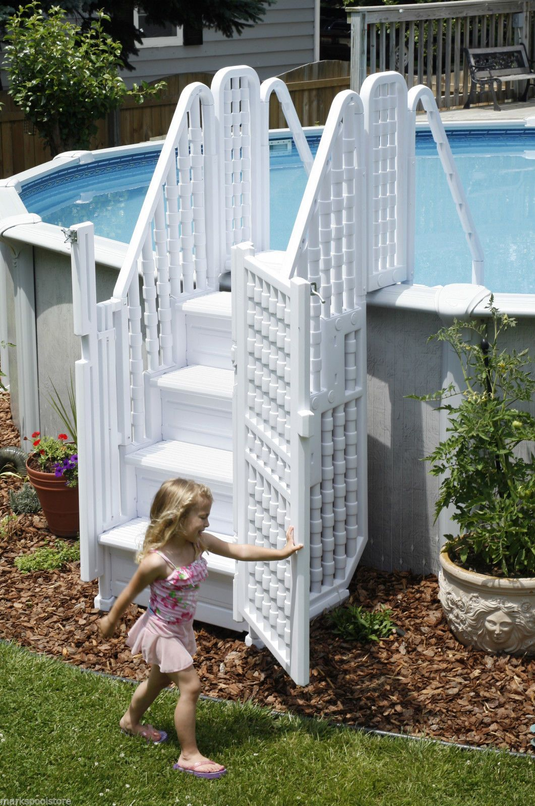 Above Ground Pool With Gates . Steps Entry System Swimming Pools Ladder Stairs