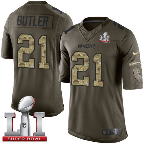 6b9ca5acc Nike Patriots  21 Malcolm Butler Green Super Bowl LI 51 Men s Stitched NFL  Limited Salute