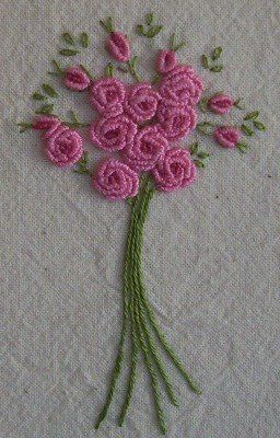 Bullion Stitch And French Knots From Calico And Cards Bordado Rococo