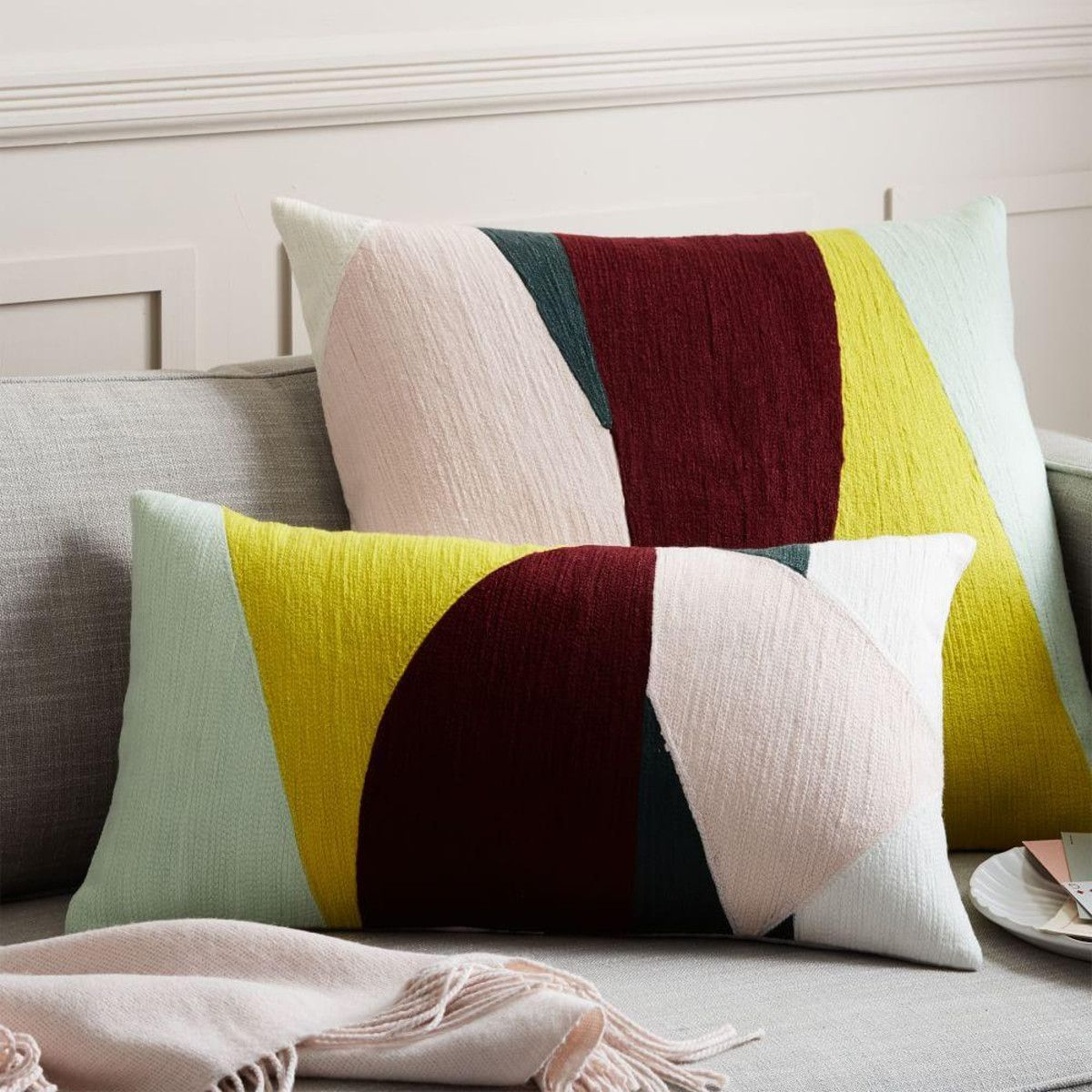 Crewel slice cushion cover wine x cm christmas presents
