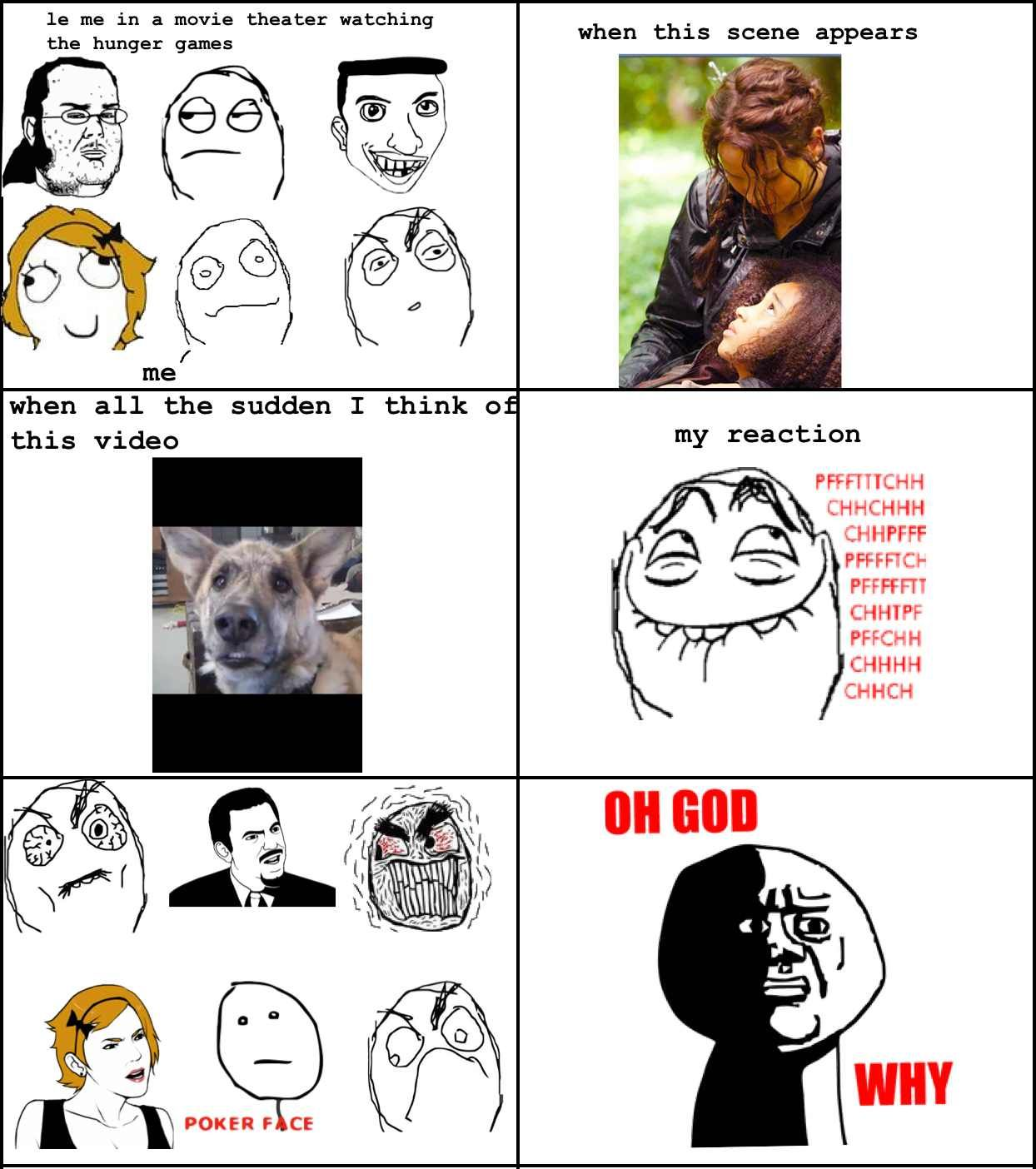 Oh, god Idk why but i was cracking up when rue died.  Hunger games rage comic