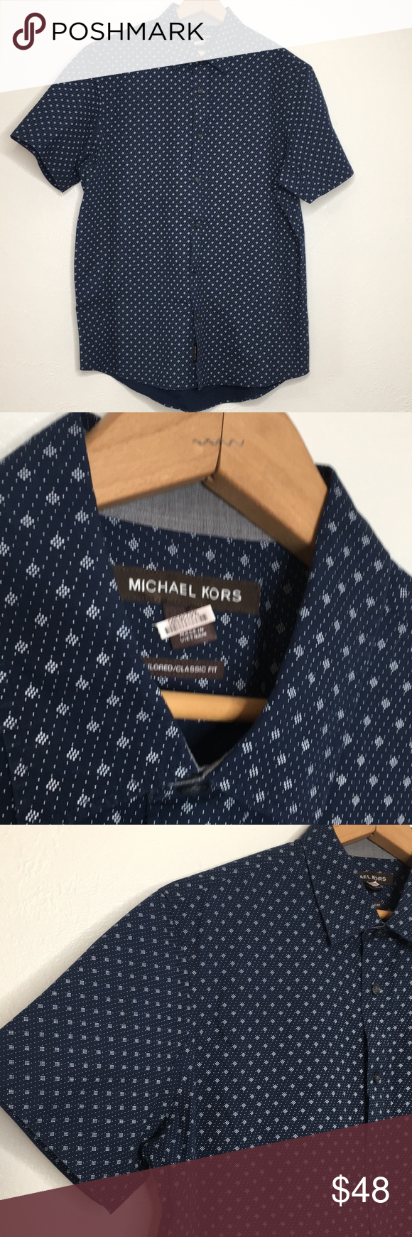 9ae5ccc5 Michael Kors classic fit short sleeve shirt L NWOT Tailored classic fit Short  sleeve button down