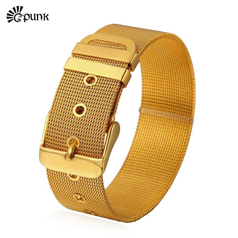 Men wrist bracelet stainless steel bracelet link buckle punk high