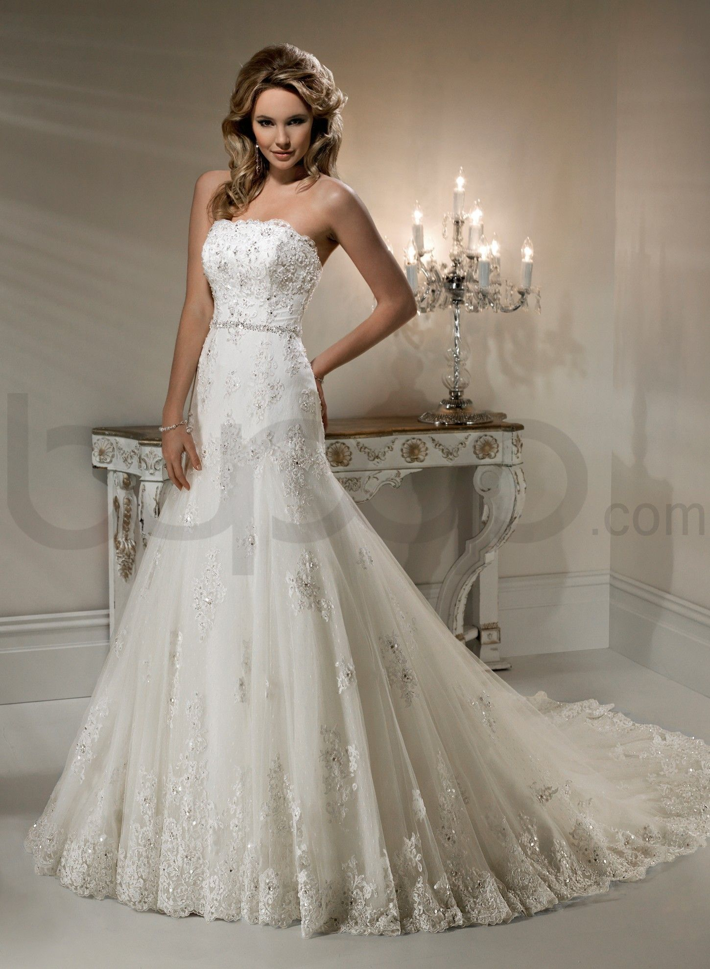 Charmant Lace Wedding Dresses | Lace Scalloped Neckline A Line Wedding Dress    Bupop.com