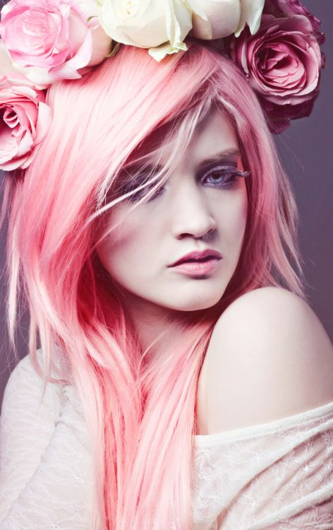 pretty pink hair with roses
