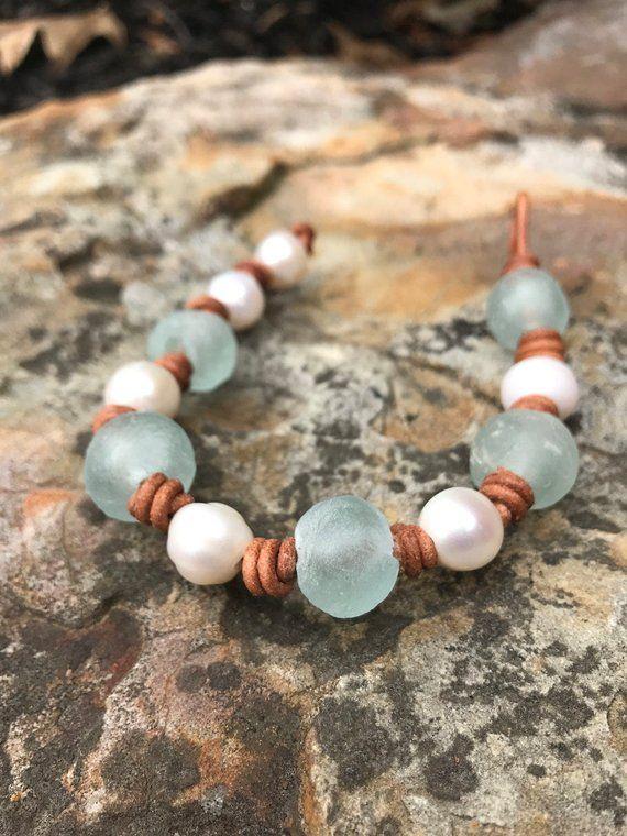 recycled glass beads bracelet