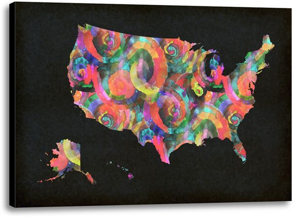 Picture of Colorful US Map I. #kidsdecor #kidscience #science #wallart #renovate #unitedstates #USA #watercolor #geography #preteen