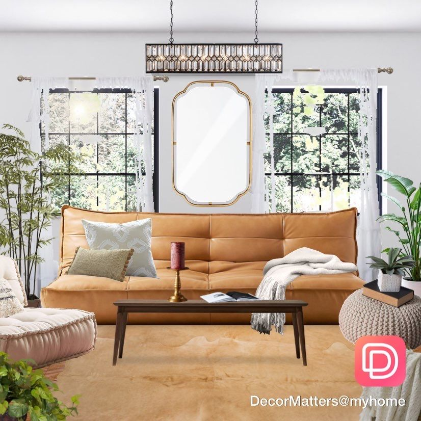 Living room interior decoration with leather sofa and golden decorative mirror. Click the image to try our free home design app.  (Keywords: interior design apps, room design app, free home decor app, dream rooms, dream house, house design, room ideas, home decor, design home, decormatters, decormatters app, decor matters, home decor ideas, DIY home decor, positive vibes, positive thoughts)