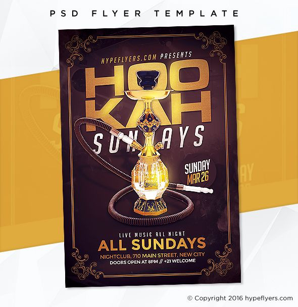 Hookah Days Flyer Template Event template, Psd templates and Adobe