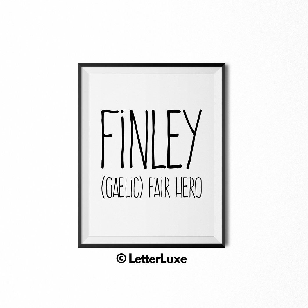 Finley printable kids gift name meaning wall decor babies finley baby name art new baby gift letterluxe name meaning negle Image collections