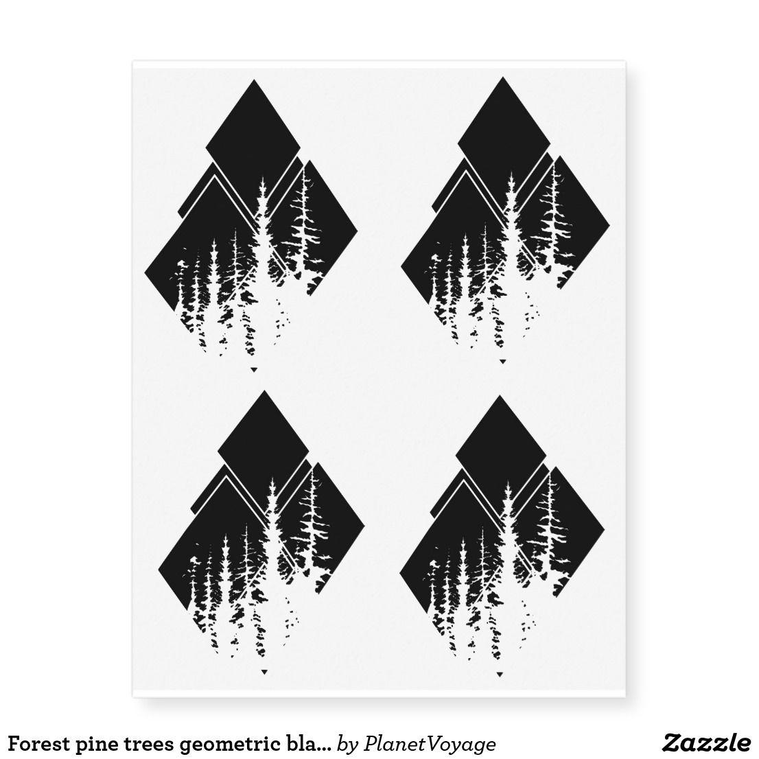 Photo of Forest pine trees geometric black tattoo | Zazzle.com