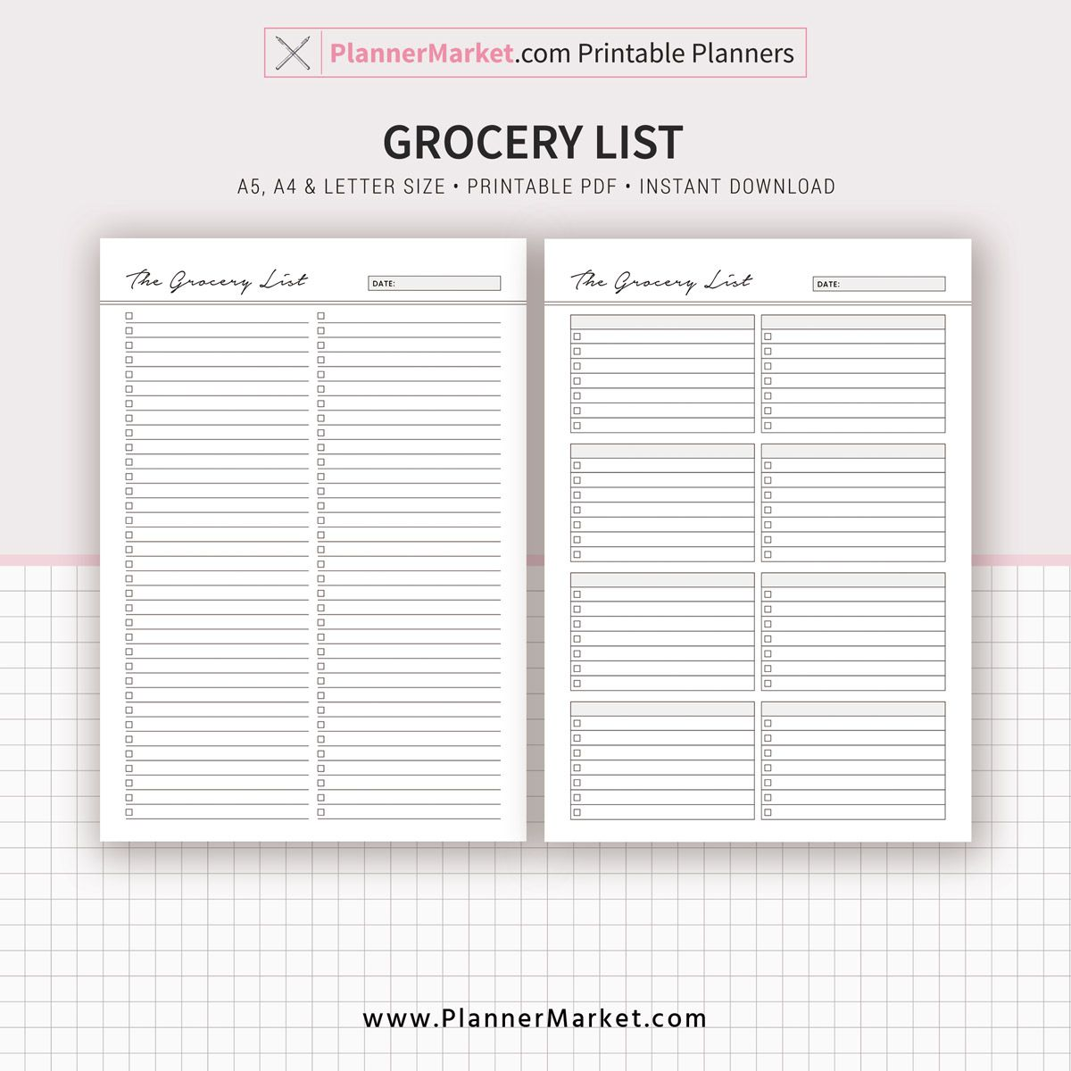This Chic Printable Meal Planner  Grocery List Is Perfect To Get