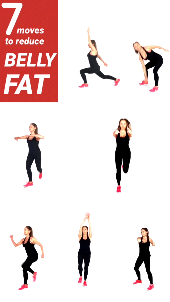 7 Moves that help to get rid off belly fat, these cardio tone exercises help increase your metabolism, and tone your abs at the same time, SO many people make the mistake of thinking that doing the plank will help with losing tummy fat, but that will never work, you need to be doing standing compound moves like this. These 7 exercises are ideal for the peri menopause and also menopause weight gain as they will help rebalance the hormones and speed up your calorie burn, do each move for 1 minute.