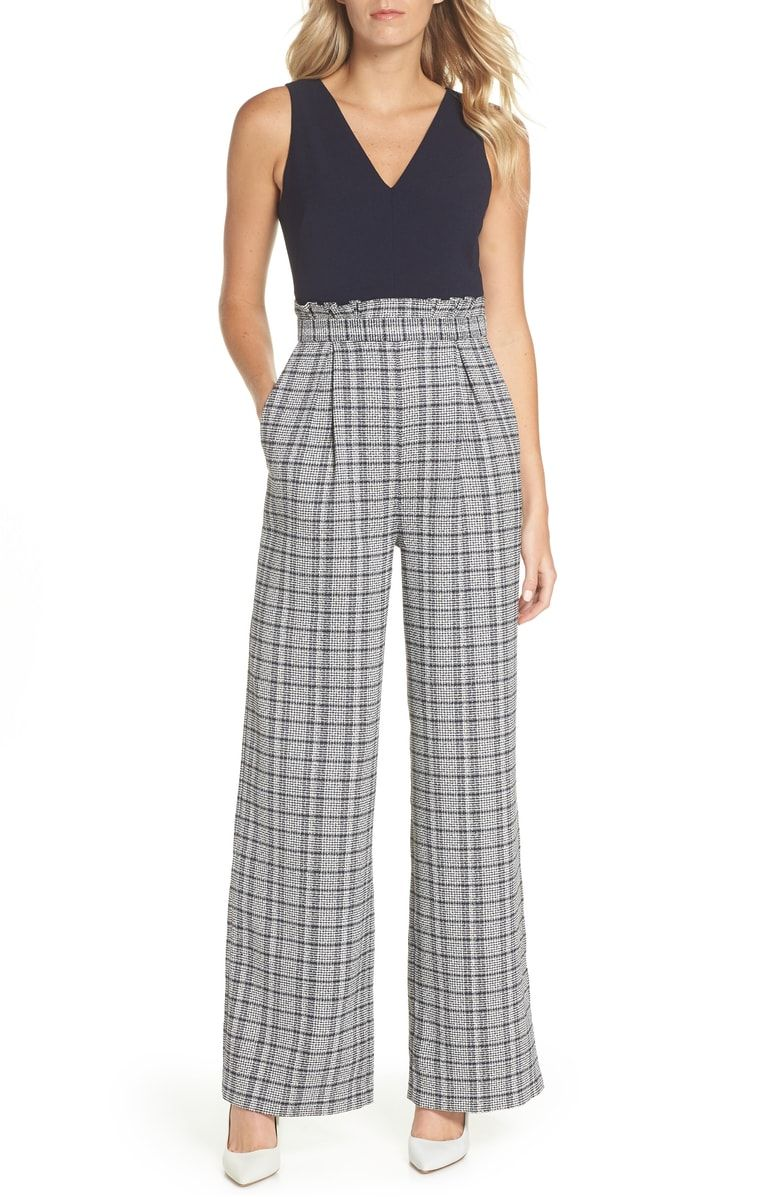 6007f3244cd9 Free shipping and returns on Chelsea28 Wide Leg Tweed Jumpsuit (Regular