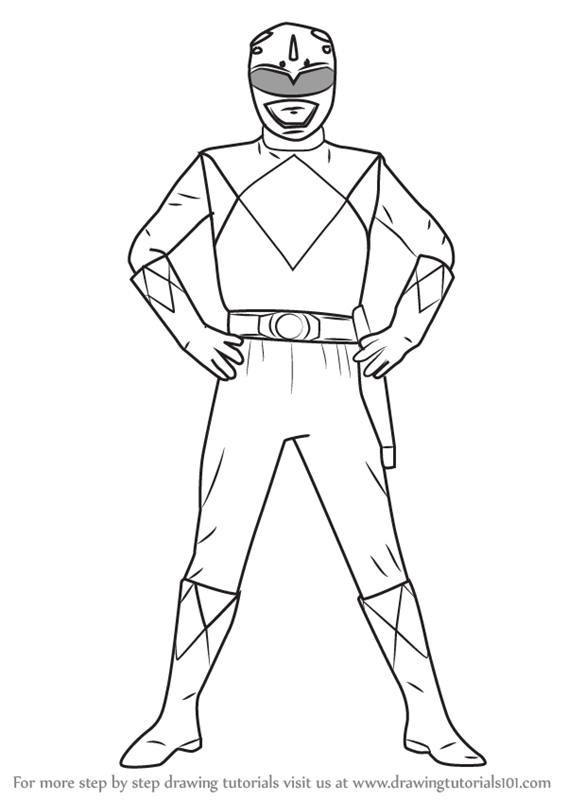 learn how to draw blue ranger from power rangers  power rangers  step by step   drawing