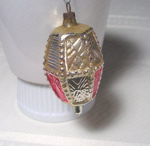 Antique Mercury Glass Vintage Christmas Ornament - Blown Glass Embossed Lantern