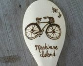 Mackinac Island, Wood Burned Spoons, Pyrography, Wooden Kitchen Spoon, Michigan, Free Shipping