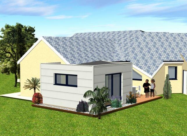 Etude 3D extension bois en Mayenne (département 53) - Derouet maison - agrandissement maison bois prix m