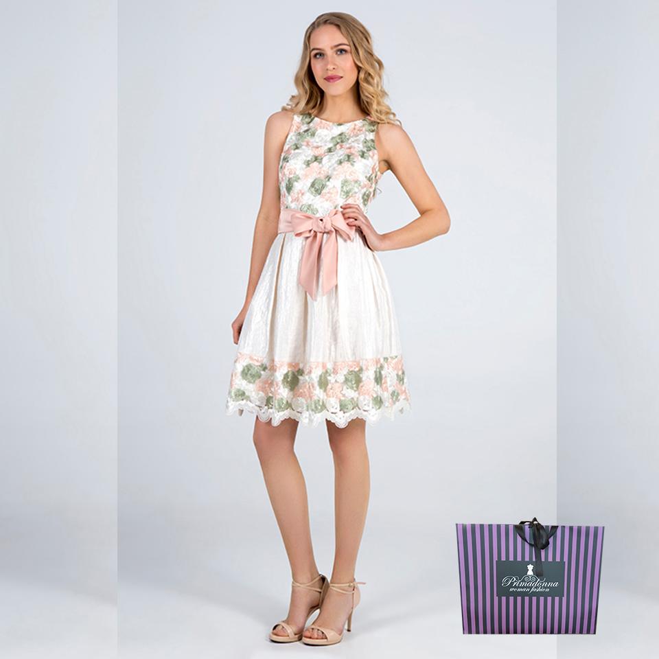 Mini φόρεμα floral Angelo σε Α γραμμή σε εκρού απόχρωση με ζώνη στην μέση.  Δεν έχει 6bb6d684b66