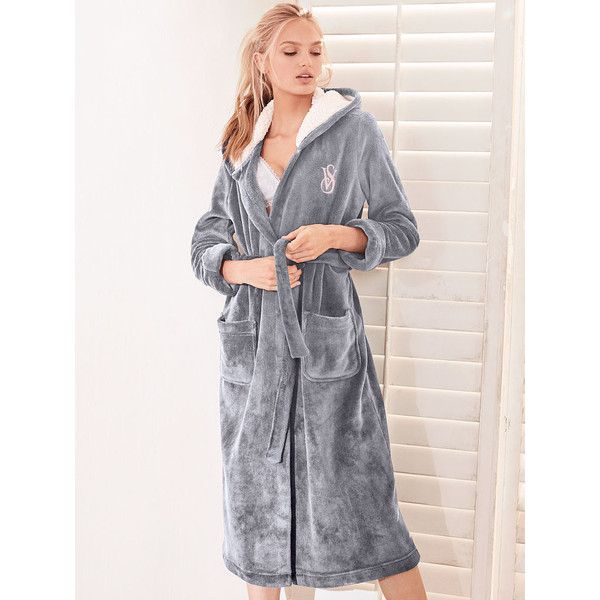 Victoria\'s Secret The Cozy Hooded Long Robe (¥7,630) ❤ liked on ...