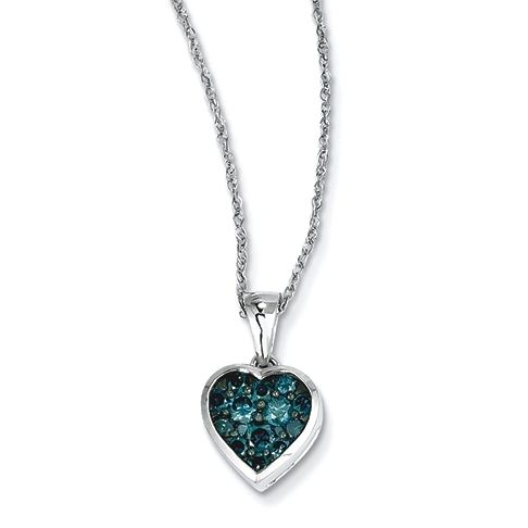 14k White Gold Blue Diamond Heart Necklace at Good Offers Online. Go to: http://www.good-offers-online.com/Necklace.html
