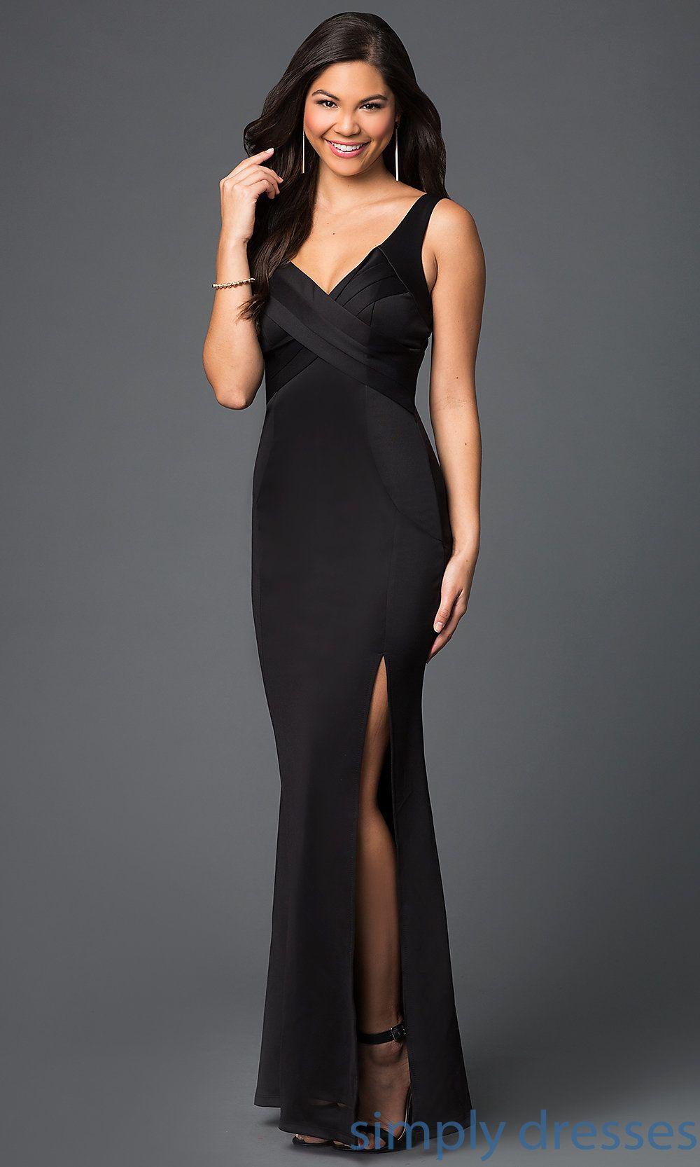 Black Jersey V Neck Evening Dress with Long Front Slit | Dress ...