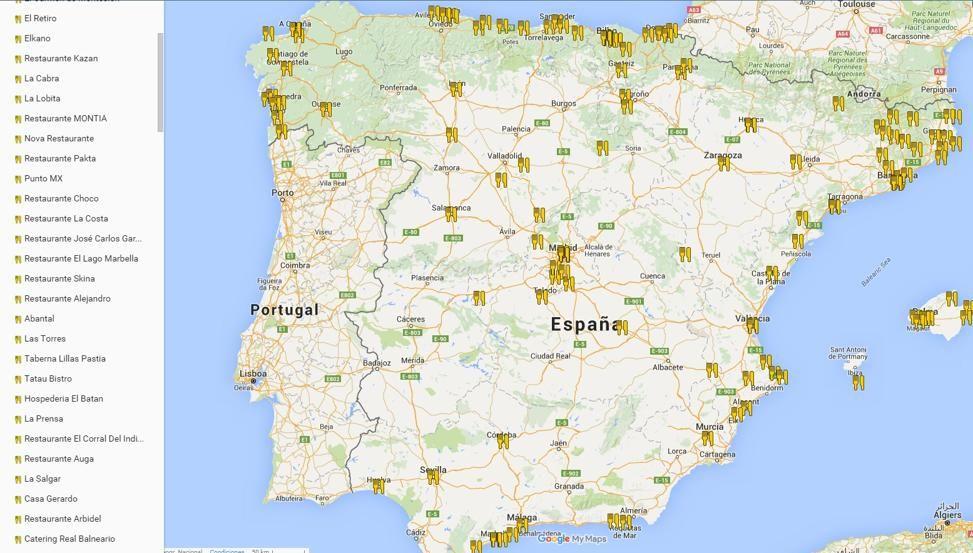 michelin mapa de portugal Mapa de todos los restaurantes con Estrella Michelin en España michelin mapa de portugal