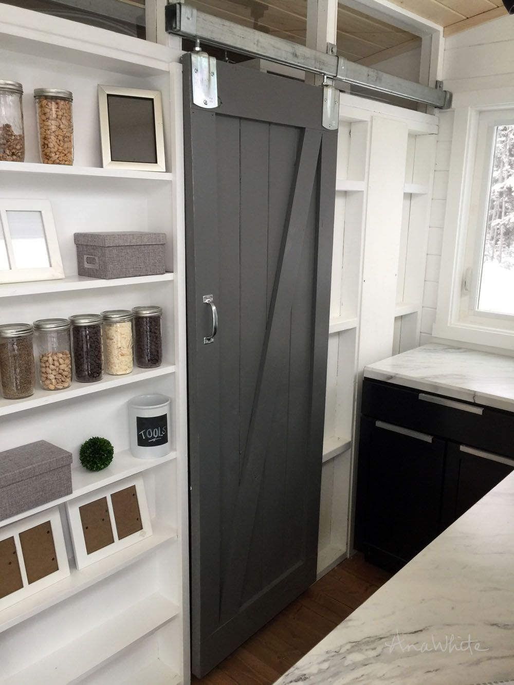 Diy Barn Door For Tiny House With Images Barn Door Furniture Diy House Projects Diy Barn Door