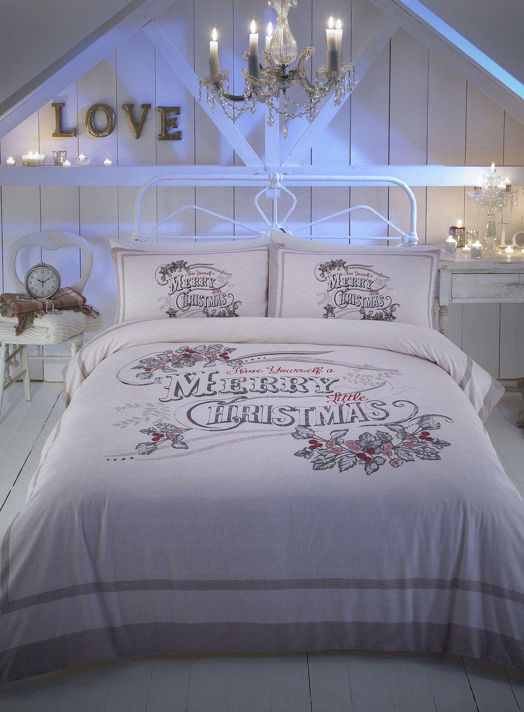 Vintage Christmas Word Brushed Cotton Bedding Set ...