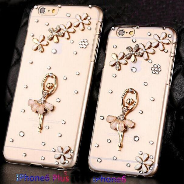 3d9a92b81ce Iphone 6s plus crystal Cases Bling Flower and dance girl decoration Cases  Back Cover For Iphone 6 6S plus 5 5s 5c 4 4s