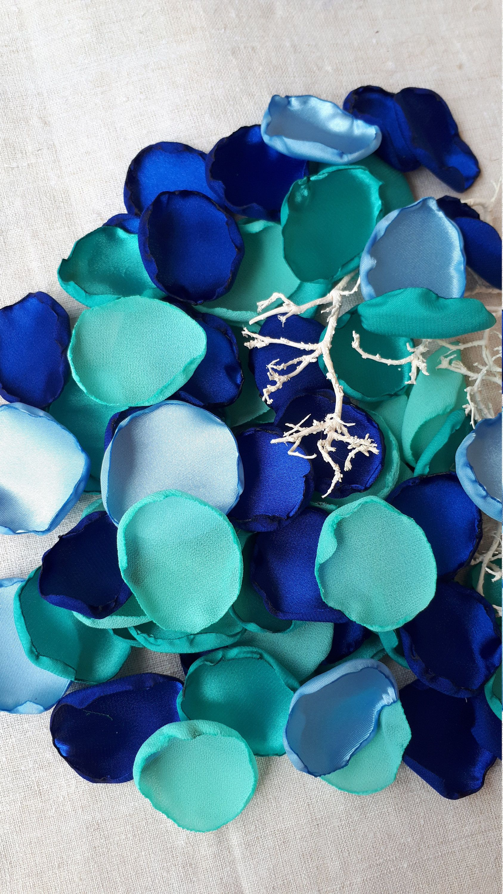 Mermaid turquoise navy blue sky blue flower petals handmeid flower wedding summer wedding beach dream wedding beach party flower petals blue izmirmasajfo