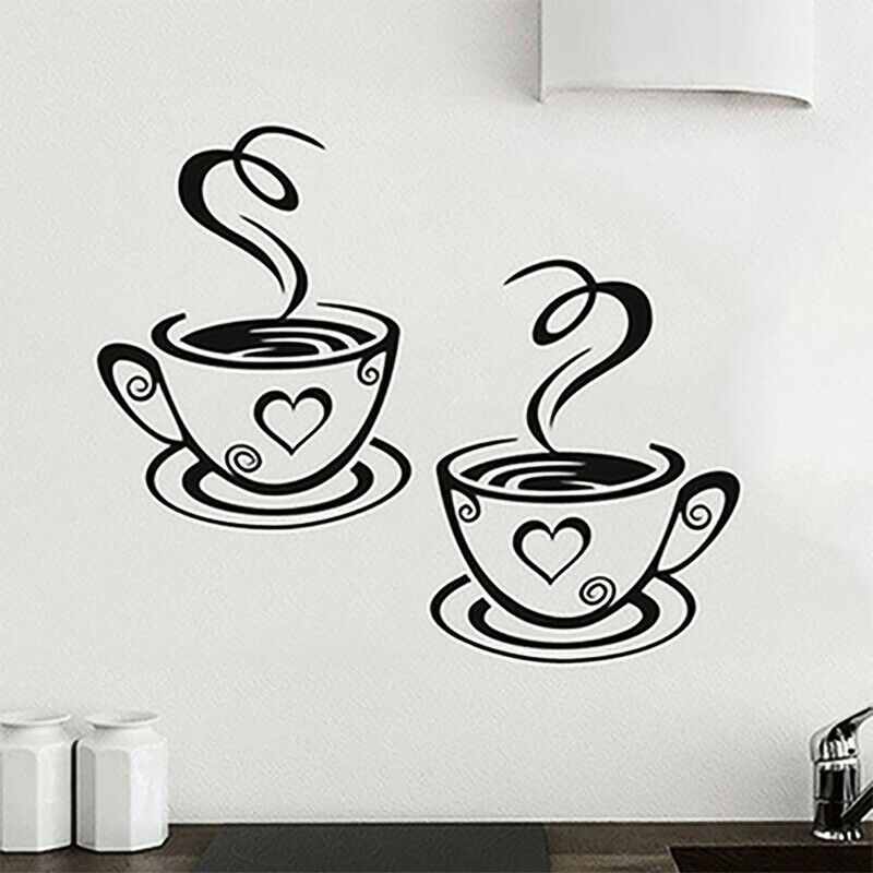Coffee Cups Wall Sticker Tea Cup Home Kitchen Restaurant Cafe Decal Vinyl Decor Unbranded In 2020 Coffee Cup Wall Art Wall Decor Stickers Pub Decor