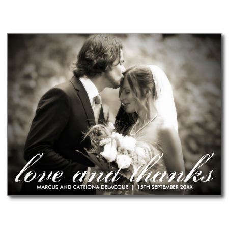 Elegant and Rustic Script Wedding Photo Thank You Postcard This classic wedding thank you card features an elegant and rustic calligraphy script. For inquires please click on the contact button above.
