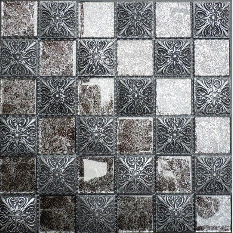 "Glossy Glass Mosaic Resin Flower Tile 1-7/8"" Black Brick Tiles Clear Glass Random Patterns"