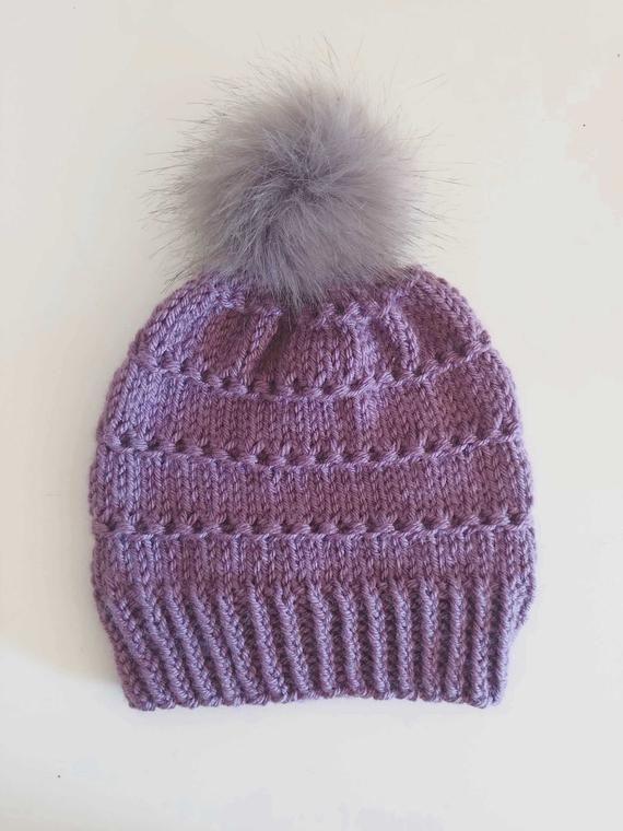 Knitted Beanie with Gray Faux Fur Pom Pom  Purple Knitted Beanie  Purple  Womens Toque  Women s Hatwe 1cbcdb78e