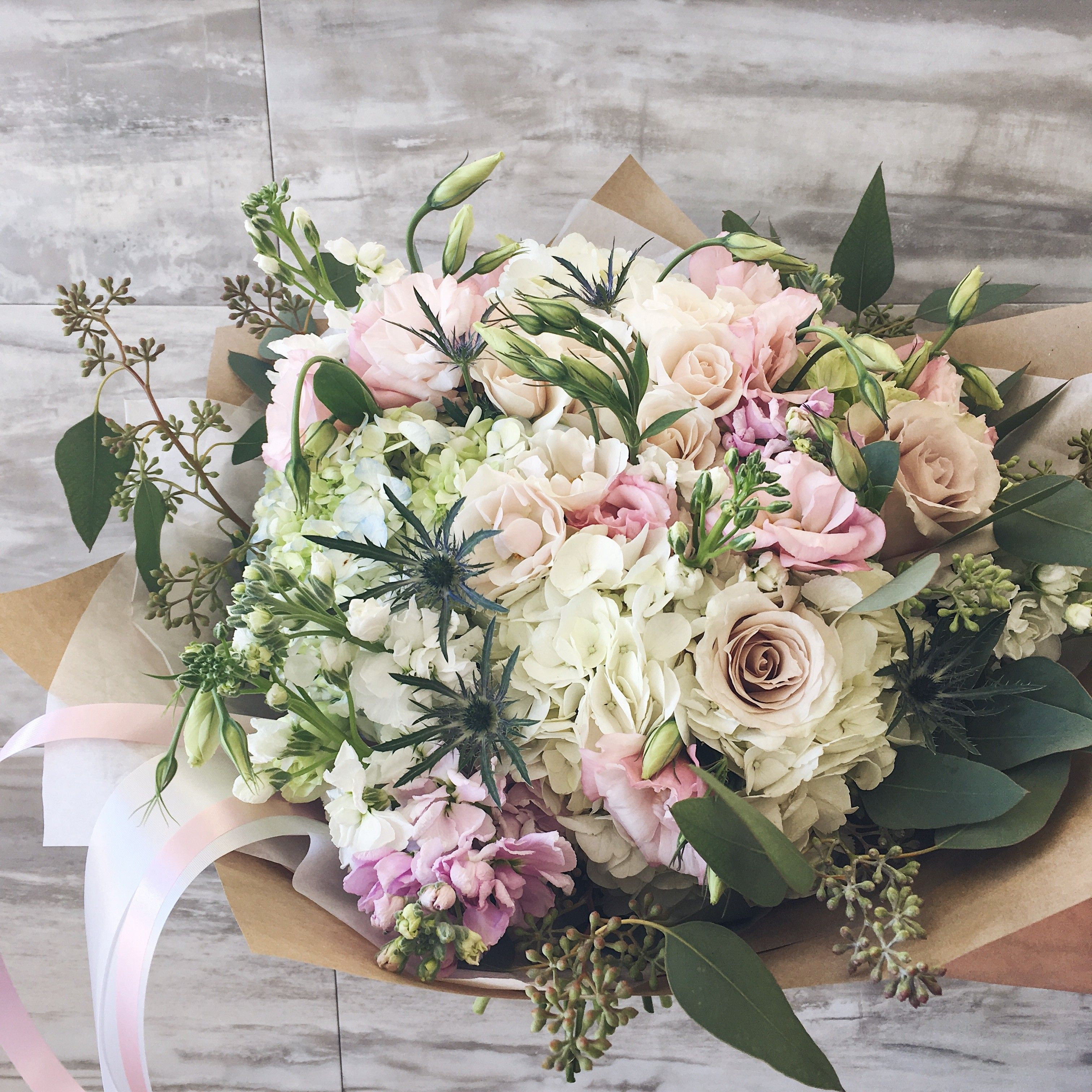 Soft Colors Mixed Large Bouquet With Blush Roses White Hydrangea And Eucaliptus Flower Bouquet Wedding Wedding Flowers Beautiful Flower Arrangements