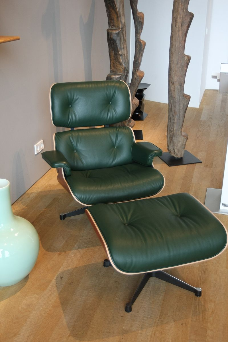 Vitra Eames Lounge Chair In Dark Green Leather Eames Lounge Chair Eames Lounge Lounge Chair