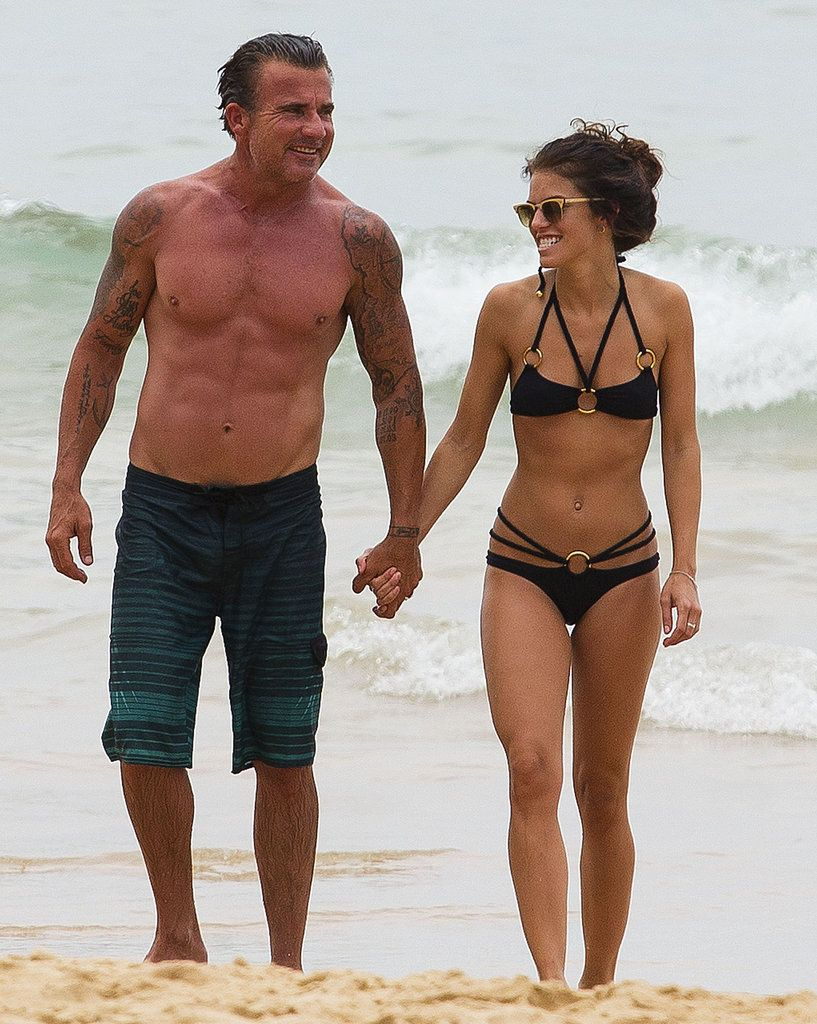 AnnaLynne McCord and Dominic Purcell steam up the beach in Sydney.
