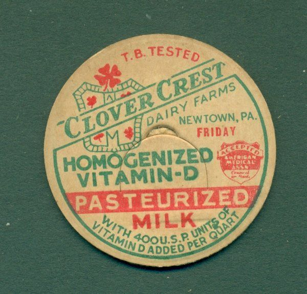 Lot Of 50 Vintage Clover Crest Newtown Pa 1 5 8 Milk Caps Milk Bottle Vintage Clover Bottle Cap