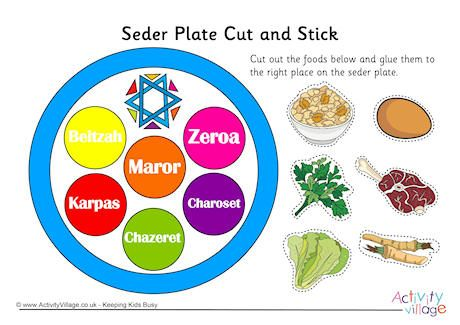 seder plate cut and stick worksheet click through to the website for the printable