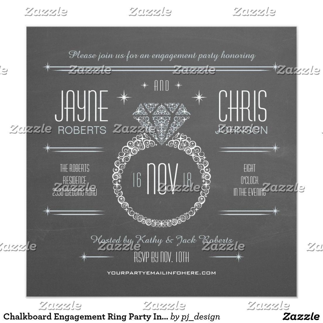 Chalkboard Engagement Ring Party Invitation   WEDDING: ENGAGEMENT ...