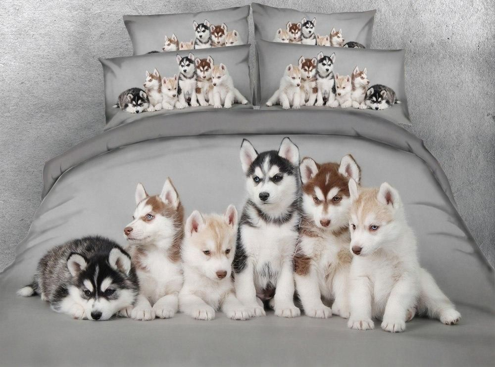 Cute puppy bedding set with images dog print bedding
