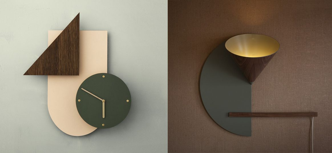 L Ferm Living Wall Wonder Clock 2016 R Daphna Laurens Cirkel Lamp 2011 Wall Lights Living Wall Wall