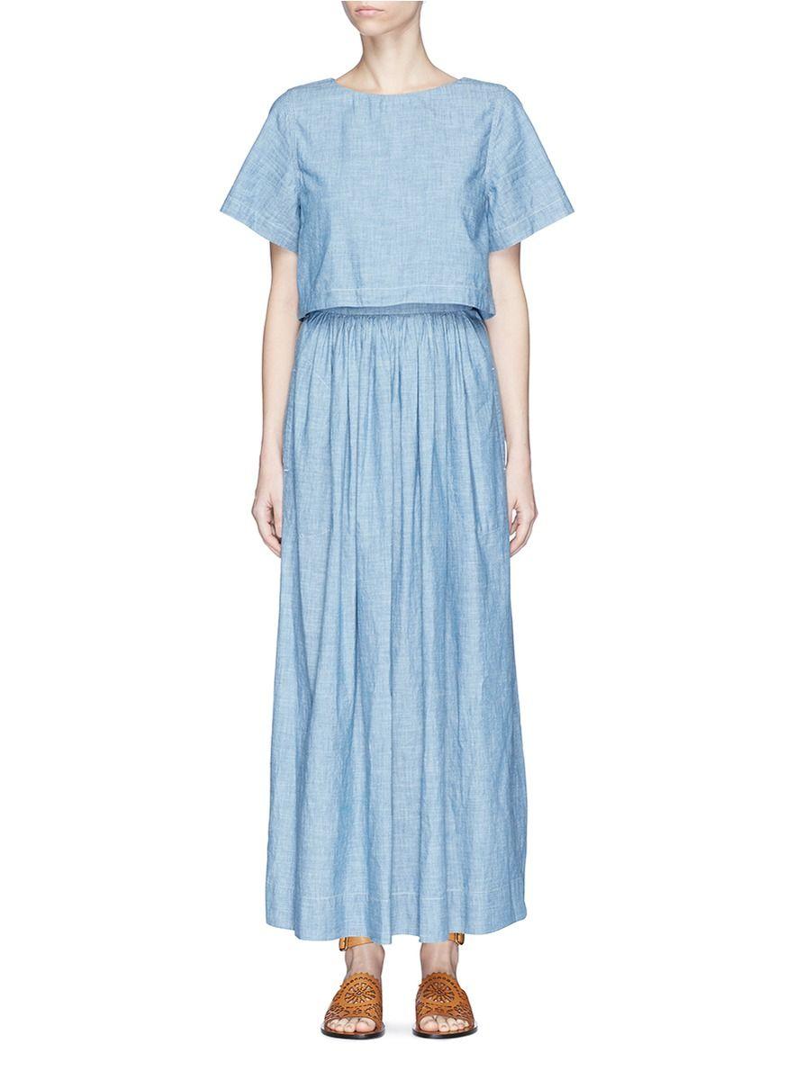 Chloe button top overlay chambray dress dresses pinterest
