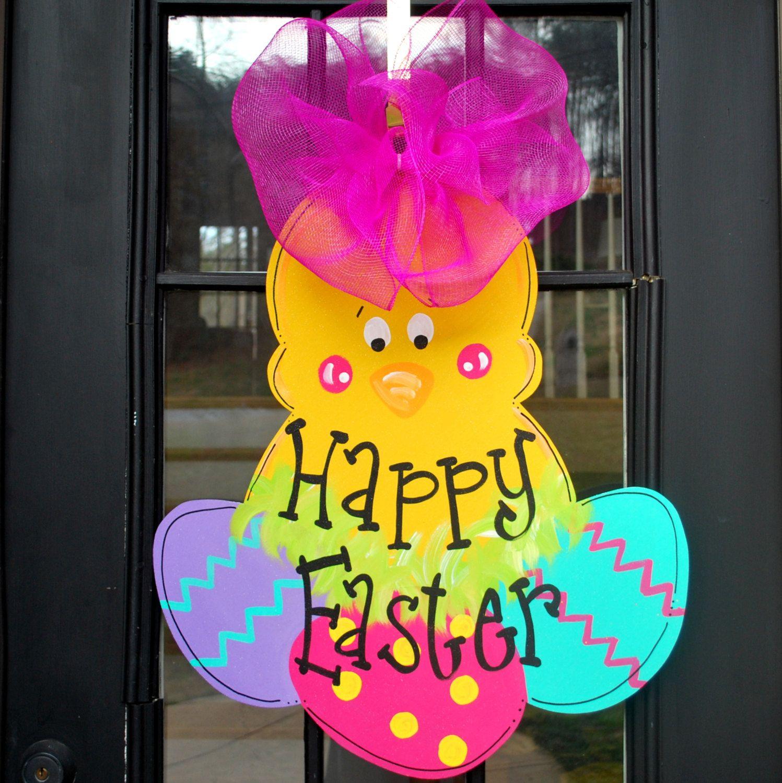 Decorative door hangers craft - Easter Chick Wreath Easter Door Hanger Easter Decoration Easter Chick Door Decoration For Front Door