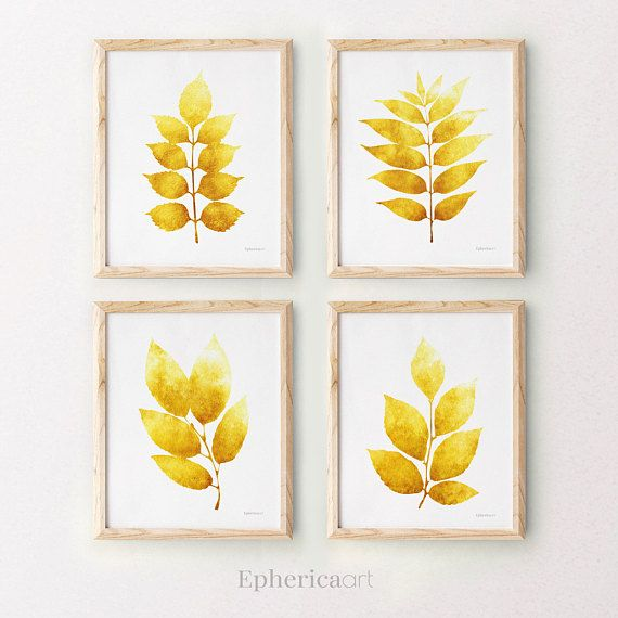 Botanical Art Download Yellow Wall Decor Set 4 Art Prints Yellow